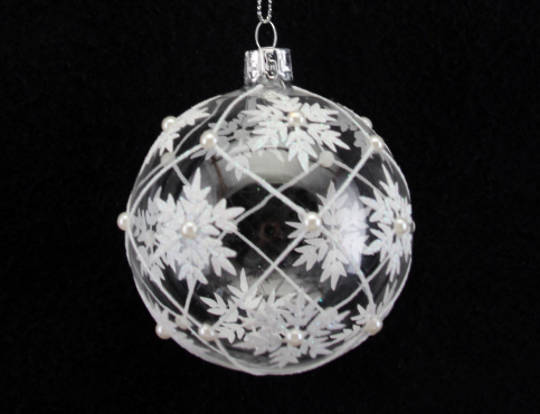 Glass Ball, Clear with White Trellis & Snowflakes