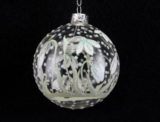 Glass Ball, Clear with SnowDrop Pattern