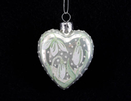 Glass Heart Pearlised White w/ Snowdrops