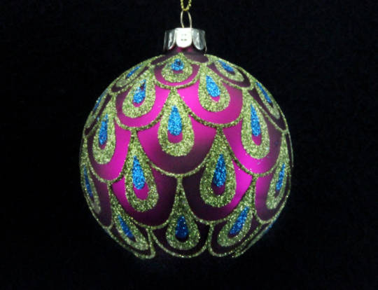 Glass Ball, Fuchsia with Peacock Scallop Pattern