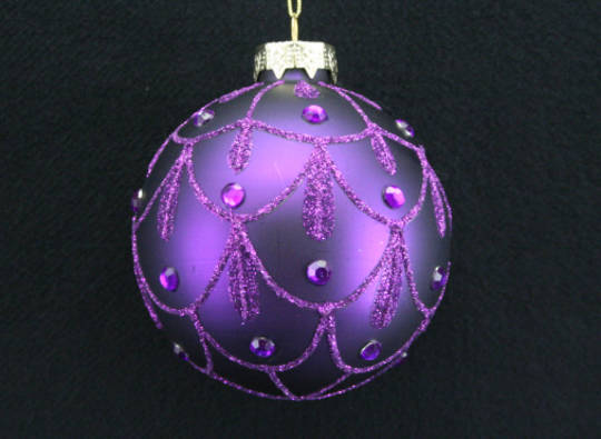 Glass Ball Matt Purple with Glitter/Diamante Swags