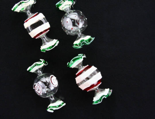 Hanging Glass Sweets 4as 8cm