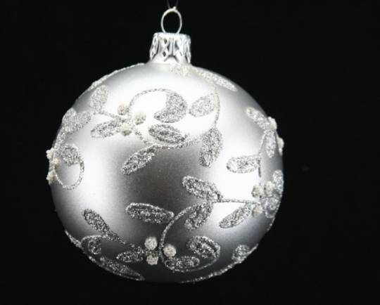 Glass Ball Matt Pewter with Silver Glitter Vine 8cm