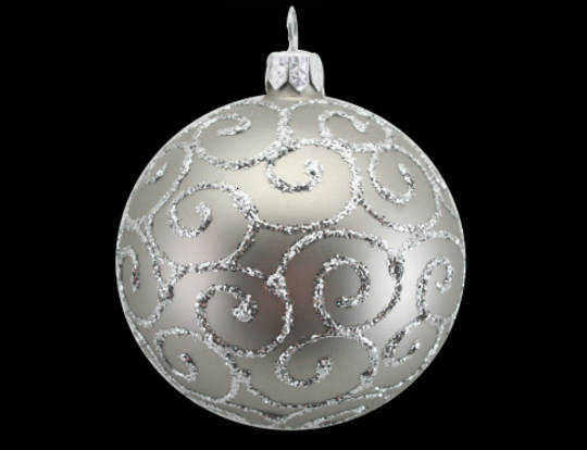 Glass Ball Matt Pewter with Silver Spirals 8cm
