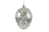 Glass Hanging Faberge Clear Egg w/Gold 10cm