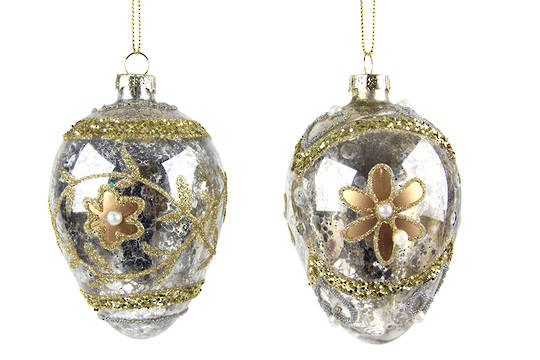 Glass Hanging Faberge Egg, Silver w/Gold Flower