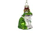 Hanging Glass Painted Frog w/Pearl Necklace