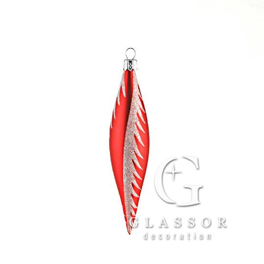 Glass Drop Red With a Silvery White Snow Swirl 14cm