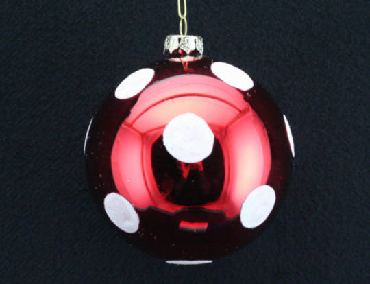 Glass Ball Metallic Red with Large Matt White Dots 8cm