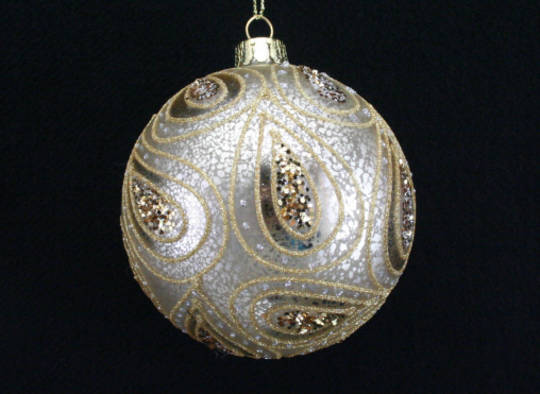 Glass Ball Antique Gold w/Paisley Print 8cm