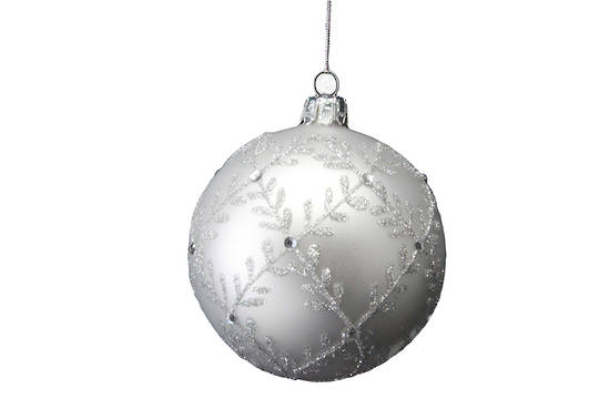 Glass Ball Matt Silver with Gltter Leaf Trellis 8cm