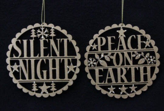 Hanging Wooden 'Silent Night' or'Peace' Old Gold