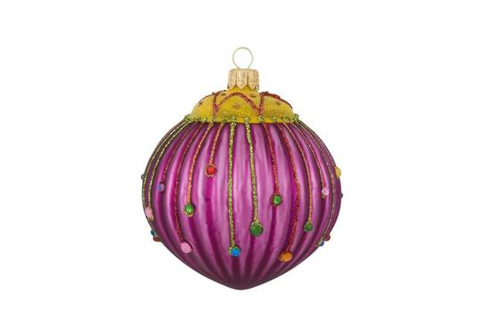 Glass Ball, Purple with Jewels 8cm