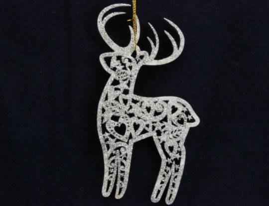 Wood Gold Fretwork Reindeer 13cm