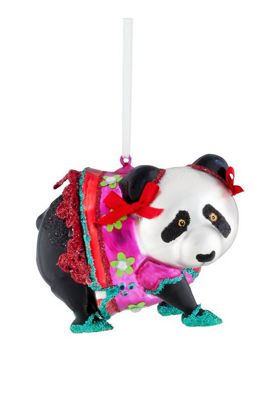 Glass Hanging Panda 12cm