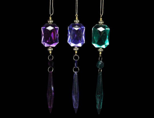 Hanging Crystal with Drop Pink/Purple/Green