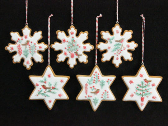 Resin Hanging Nordic Gingerbread Star/Snowflake