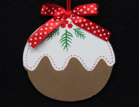 Hanging Flat Wooden Xmas Pudding 9cm