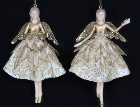 Hanging Christmas Rose Fairy Crean & Gold