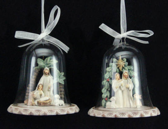 Hanging Resin Nativity with Glass Dome