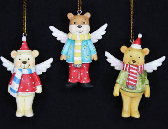 Hanging Resin Dressed Teddy with Wings
