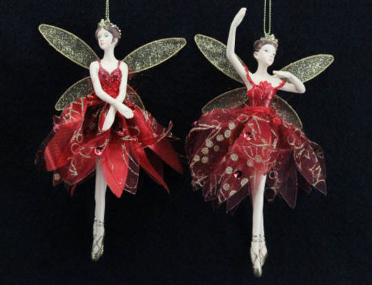 Hanging Resin & Fabric Fairy  Red and Gold SOLD OUT