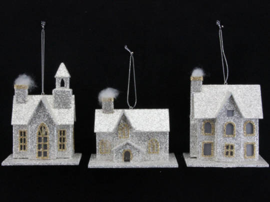 Glitter Hanging Paper House 12cm