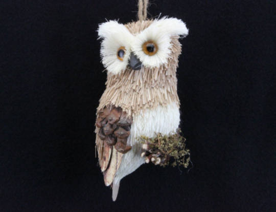 Wood & Bristle Hanging Owl 13cm