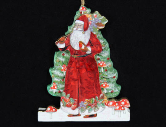 Hanging Wooden 3D Forest Santa with Tree