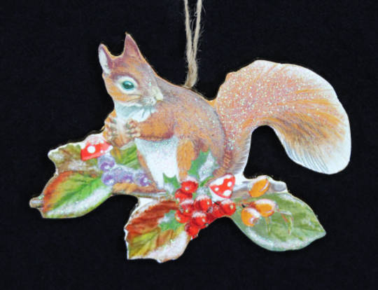 Hanging Wooden Squirrel on Fruit Branch