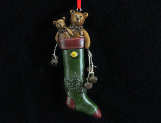 Hanging Resin Antique Stocking with Teddies