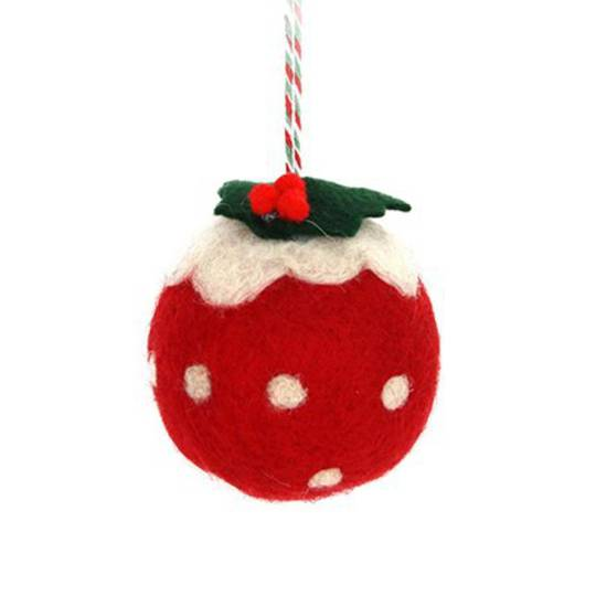 Hanging Eco Wool Red Christmas Pudding 6cm