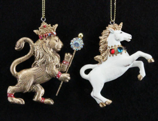 Hanging Resin Regal Jewelled Lion/Unicorn SOLD OUT