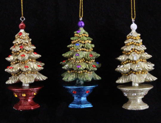 Hanging Resin Regal Jewelled 3D Tree in Pot