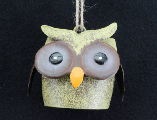 Hanging Tin Owl Cow Bell 6cm