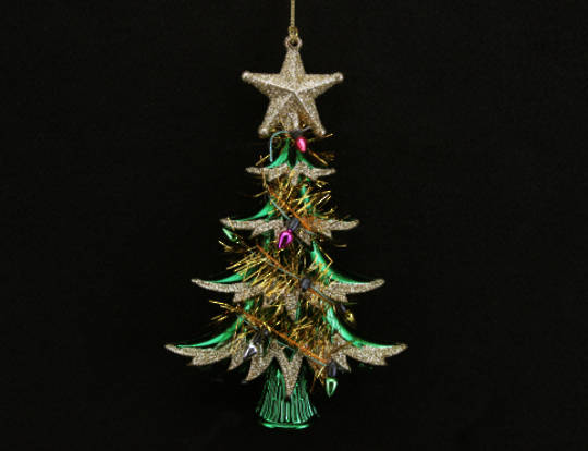 Hanging Acrylic/Tinsel Tree Green/Gold