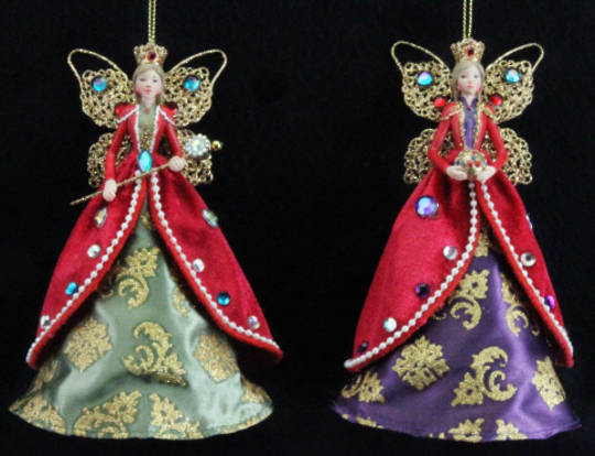 Hanging Regal Angel Jewelled/Fabric Lge