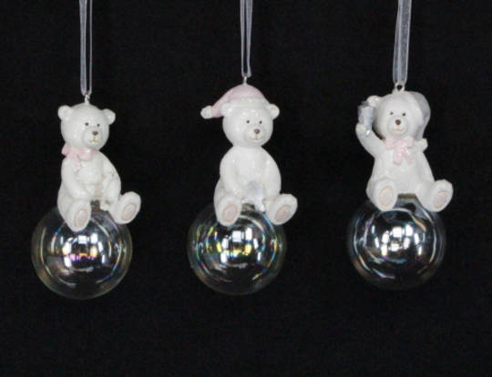 Hanging Resin Pastel Teddy on Soap Bubble