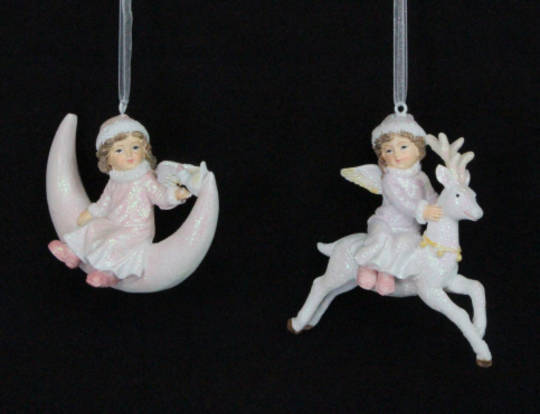 Hanging Resin Girl on Moon/Reindeer