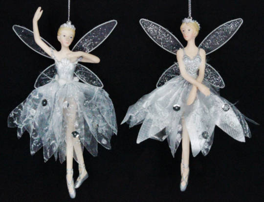 Hanging Resin Fairy Silver Fabric