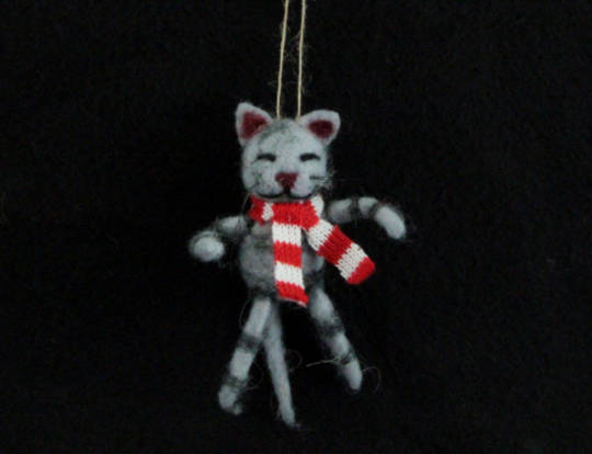 Hanging Eco Wool Stripy Cat with Scarf