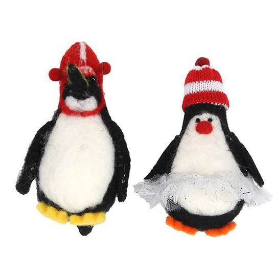 Hanging Eco Wool Penguin in Tutu and/or Hat