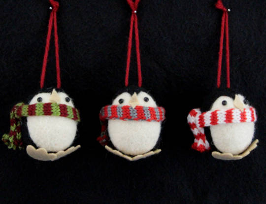 Hanging Eco Wool Round Penguin with Scarf SOLD OUT