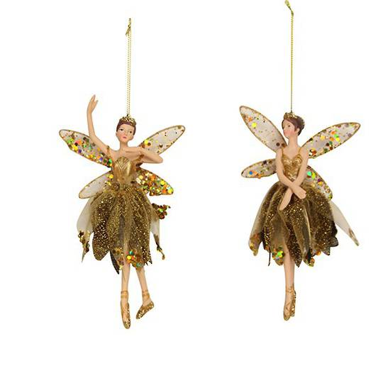 Hanging Resin Ballerina Fairy Old Gold Fabric 18cm