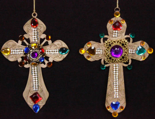 Hanging Gold Metal Cross with Jewels
