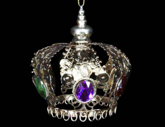 Hanging Bronze Metal Crown with Jewels Sml