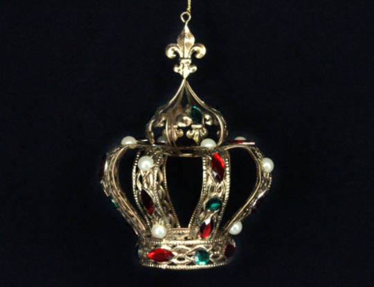 Hanging Gold Metal Crown with Jewels and Pearls Lge