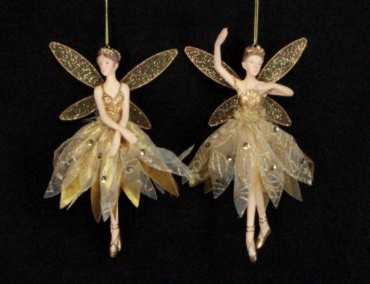 Hanging Resin Fairy Gold Fabric Lge