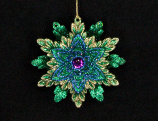 Hanging Snowflake Peacock Coloured Glitter