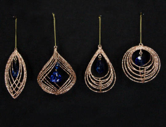 Hanging Wire Shape Gold Glitter with Blue Jewel